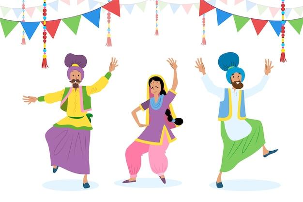 Baisakhi indian festival mit menschen tanzen