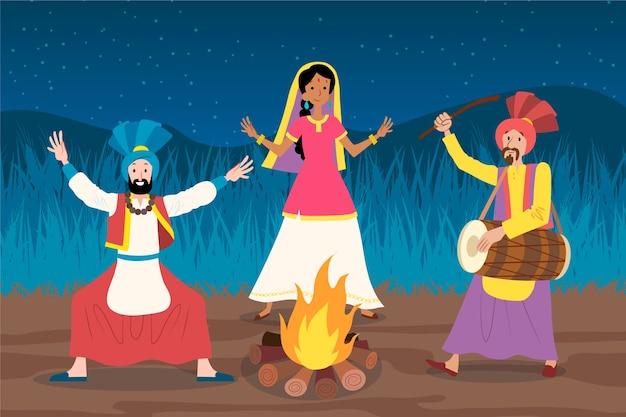 Baisakhi indische festivalleute und lagerfeuer