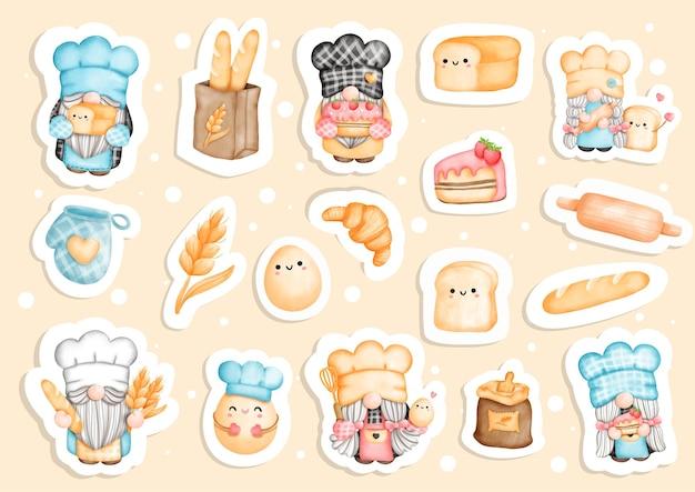 Baker gnomes sticker küchenzwerg planer und scrapbook