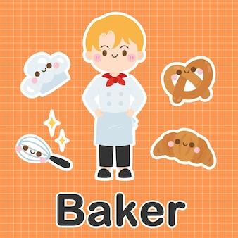 Baker - set der besetzung niedlichen kawaii zeichentrickfigur