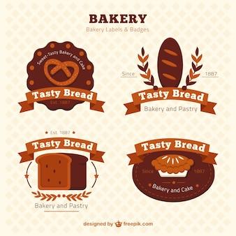 Bakery etikette und abzeichen im retro-stil