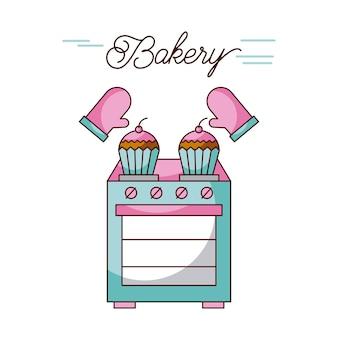 Bakery ofen gerät cupcakes und topflappen