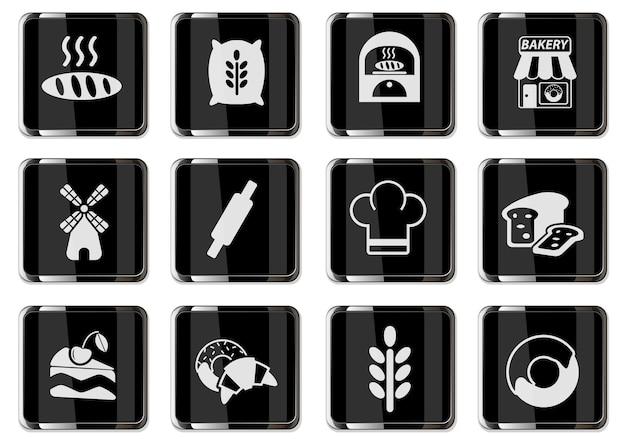 Bakeshop-piktogramme in schwarzen chromknöpfen. symbolsatz für ihr design. vektorsymbole