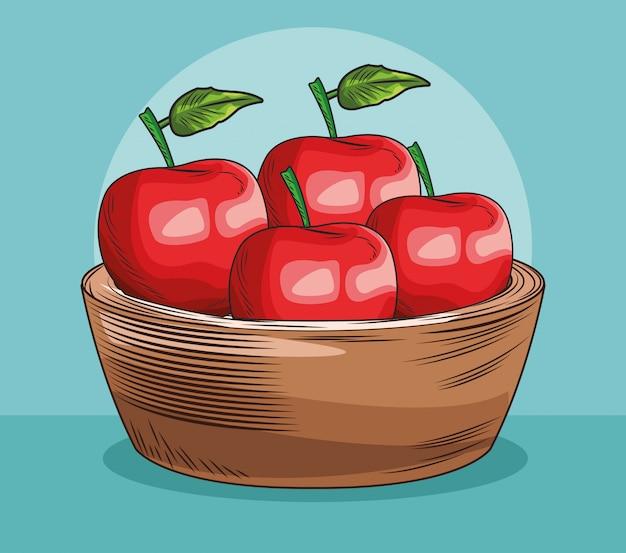 Baket mit frischen früchten der äpfel
