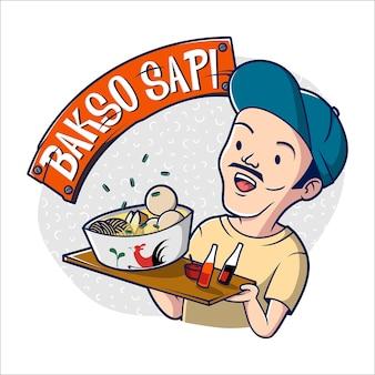 Bakso sapi maskottchen-logo mit indonesischem mann, der küchenschüssel von fleischbällchen mit nudeln und chilisauce hält