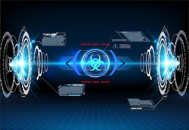 Bakterien, gefährliche virusprojektion auf blauem futuristischem hintergrund. hologramm von covid-19, coronavirus-bakterien auf blauem futuristischem hintergrund. tödlicher virustyp covid-19.warnung, gefahrenrahmen