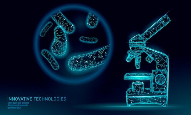 Bakterien low poly rendern probiotika. gesunde normale verdauungsflora der menschlichen darmjoghurtproduktion. allergieimmunität der modernen wissenschaftstechnologiemedizin