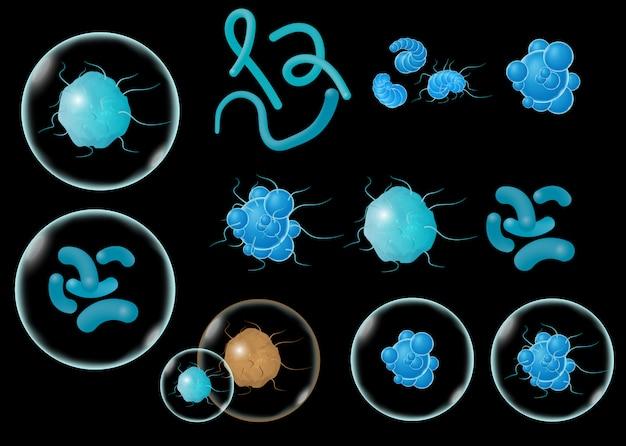 Bakterien und keime setzen sich ab, mikroorganismen verursachen objekte,