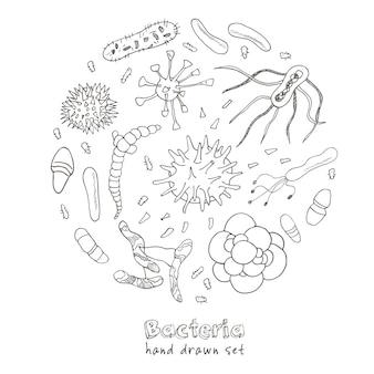 Bakterienvirus-symbole eingestellt. skizzen. handzeichnung.