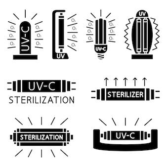 Bakterizide uv-lampe. medizinisches antimikrobielles gerät für zuhause, klinik, krankenhaus. effiziente glühbirne. doppelte sterilisation von luft und oberflächen mit ultraviolettem licht. uv-c-sterilisator. vektor-glyphen-symbole