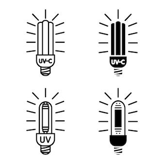 Bakterizide uv-lampe. medizinisches antimikrobielles gerät für zuhause, klinik, krankenhaus. effiziente glühbirne. doppelte sterilisation von luft und oberflächen mit ultraviolettem licht. uv-c-sterilisator. vektorsymbole