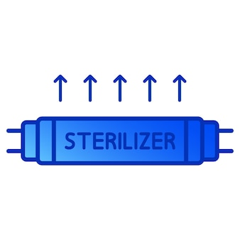 Bakterizide uv-lampe. medizinisches antimikrobielles gerät für zuhause, klinik, krankenhaus. sterilisation mit ultraviolettem licht. ultraviolette keimtötende bestrahlung. uv-c-sterilisator. vektor