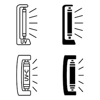 Bakterizide uv-lampe. uv-c-sterilisatorlampe. gerät mit ultraviolettem licht. ultraviolette keimtötende bestrahlung und sterilisation. oberflächenreinigung, medizinische dekontaminationsverfahren. vektorsymbole