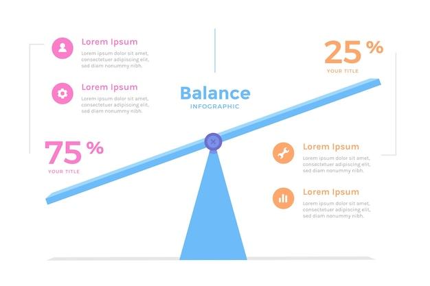 Balance infografiken flaches design