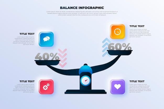 Balance infografiken konzept Premium Vektoren