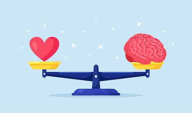 Balance zwischen herz, emotionen, liebe und intelligenz, gehirn, logik auf der waage. wählen sie zwischen gefühlen und geist, karriere oder hobby, liebe oder arbeit. lebensentscheidung treffen. emotionales gleichgewicht