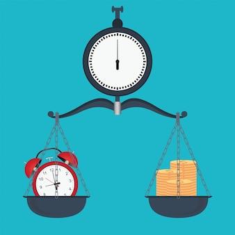 Balance zwischen zeit und geld auf waage