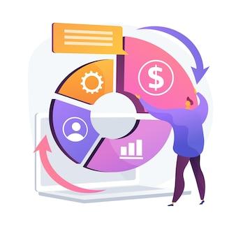 Balanced business scorecard. kohärentes projekt, harmonische unternehmensentwicklung, optimierter workflow. geschickter business management experte. vektor isolierte konzeptmetapherillustration