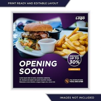 Bald essen menü für social media instagram post banner vorlage öffnen