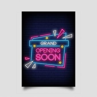 Bald große eröffnung im neonstil. grand opening soon leuchtreklamen