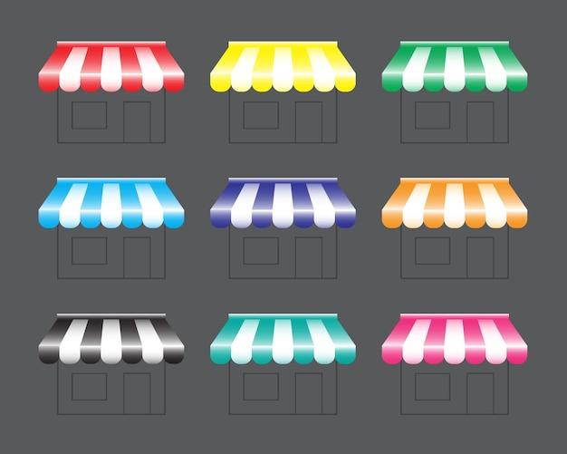 Baldachin shoppen oder baldachin vektor-illustration alternative farben speichern