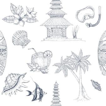 Bali hand gezeichnetes nahtloses muster