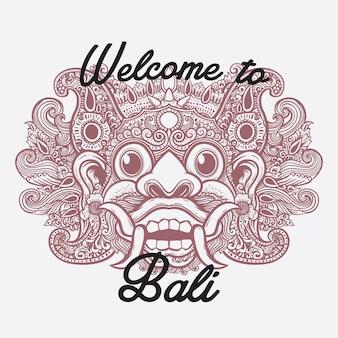 Bali maske linie kunst illustration willkommen in bali