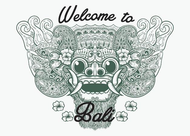 Bali mythische maske linie kunst illustration willkommen auf bali