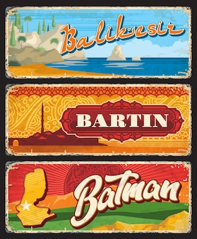 Balikesir, bartin, batman il, türkei provinzen vintage teller vintage