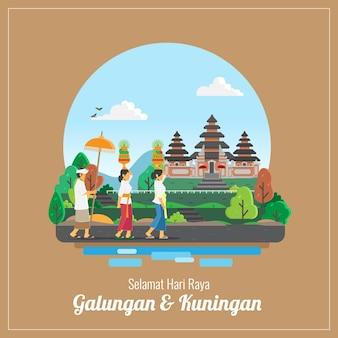 Balinesische galungan und kuningan feiertagsgrußkarte
