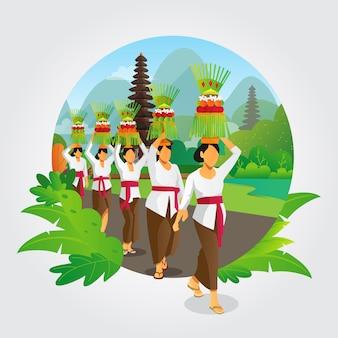 Balinesische galungan-zeremonie