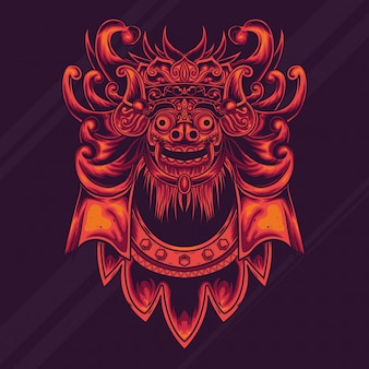 Balinesischer barong-kulturillustrationsentwurf
