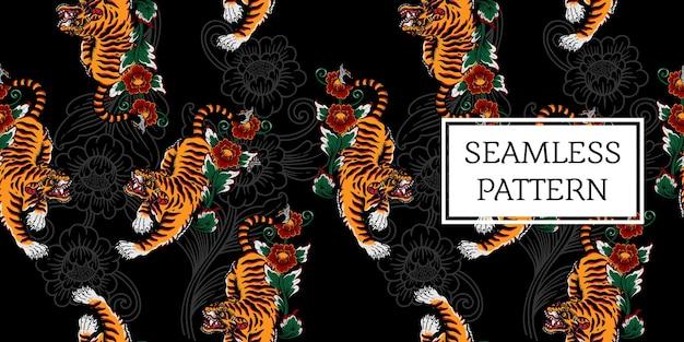 Balinesischer tiger muster schwarz