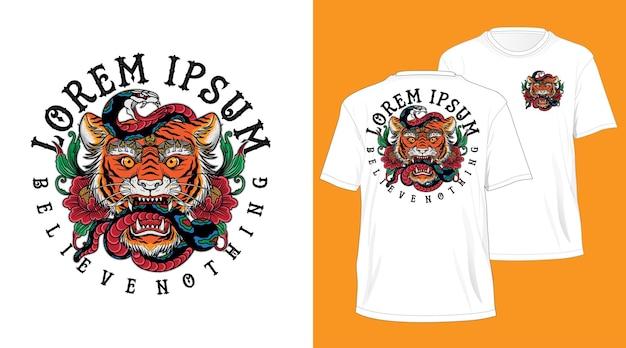 Balinesischer tigerkopf-schlangen-tätowierungsentwurf für t-shirt weiß