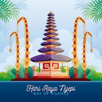 Balis tag der stille illustration mit tempel