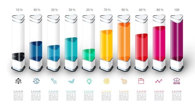 Balkendiagramm infografiken mit bunten 3d stück.