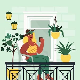 Balkon zu hause bleiben