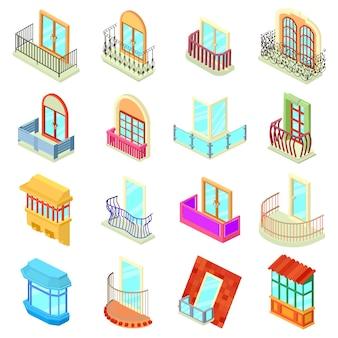 Balkonfensterformikonen eingestellt. isometrische illustration von 16 balkonfensterformikonen stellte vektorikonen für netz ein
