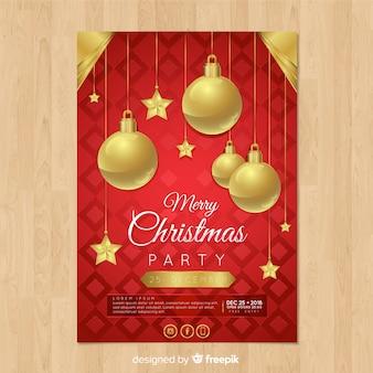 Ball-fliegerschablone der weihnachtsfeier goldene
