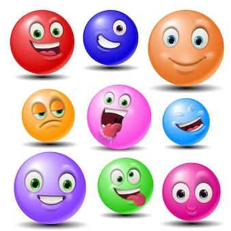 Ball gesichter masken mit mund und augen von aliens emoticon