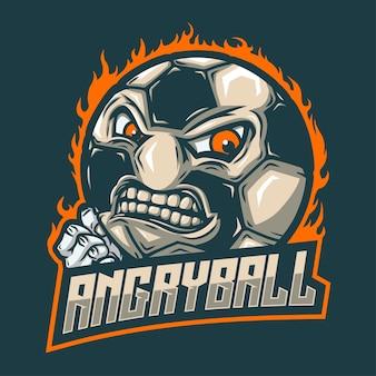 Ball-maskottchen mit wütendem gesicht und fausthand
