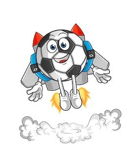 Ball mit jetpack maskottchen cartoon