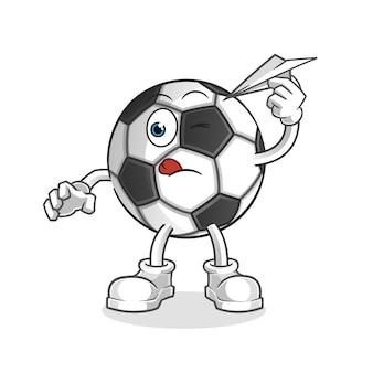 Ball mit papierflugzeugcharakter-karikaturmaskottchen