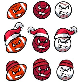 Ballcharakter tragen weihnachtsmütze und mütze