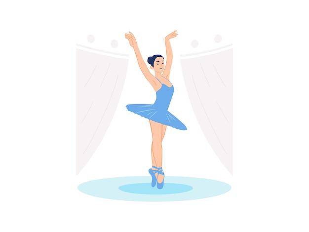 Ballerina der weiblichen balletttänzerin, die im theater auf der bühnen-darstellenden kunstkonzeptillustration tanzt