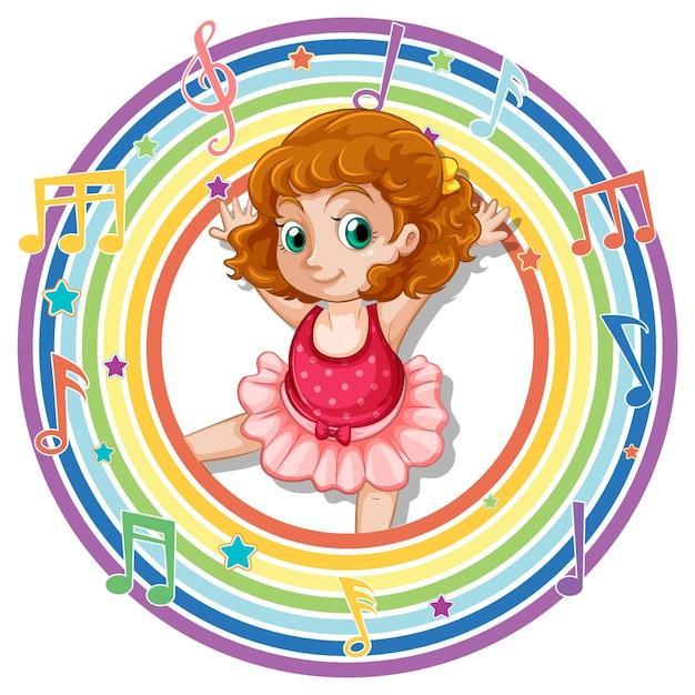 Ballerina im runden regenbogenrahmen mit melodiesymbolen