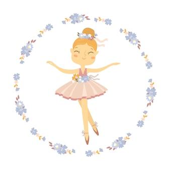 Ballerina in einem blumenkranz