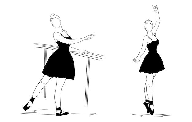 Ballerina in kleid und spitzenschuhen. silhouette. tänzer. vektorillustration für design und dekoration.