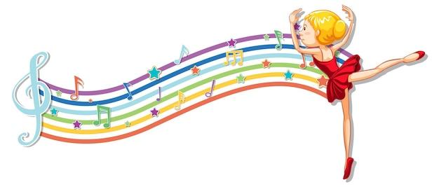 Ballerina mit melodiesymbolen auf regenbogenwelle