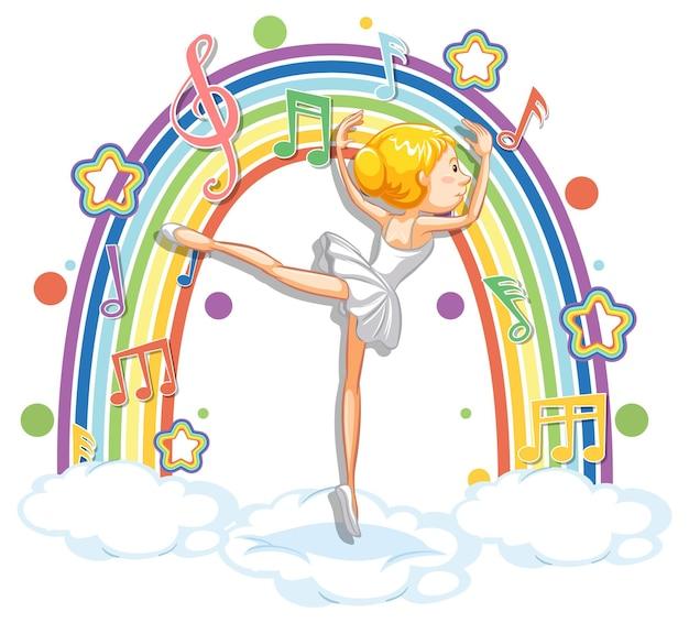 Ballerina tanzt auf der wolke mit melodiesymbolen auf regenbogen